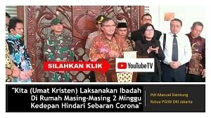 Ketua PGIW DKI Jakarta Pdt Manuel Raintung: Kita Ibadah di Rumah Masing-Masing 2 Minggu Kedepan