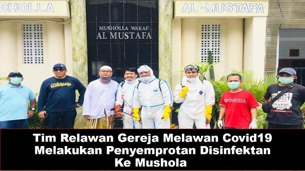 Tim Relawan Gereja Melawan Covid19 Melakukan Penyemprotan Disinfektan  Ke Mushola 