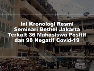 Ini Kronologi Resmi Seminari Bethel Jakarta Terkait 36 Mahasiswa Positif dan 98 Negatif Covid-19