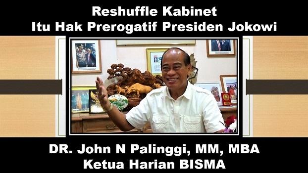 DR John N Palinggi: Reshuffle Kabinet, Itu Hak Prerogatif Presiden Jokowi