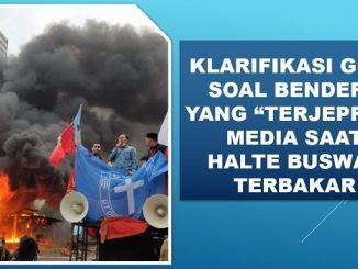 """Klarifikasi GMKI Soal Bendera yang """"Terjepret"""" Media Saat Halte Busway Terbakar"""