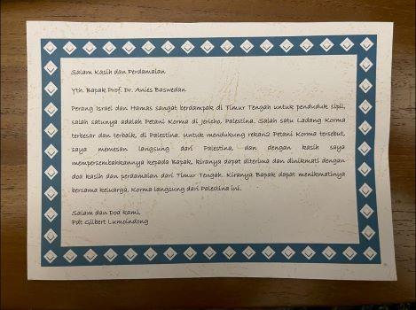 Surat Pdt Gilbert Lumoindong kepada Anies Baswedan